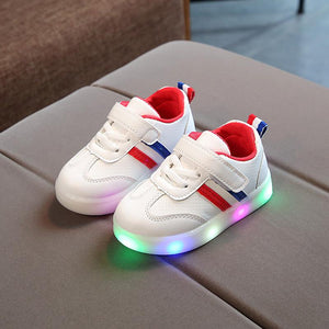 2018 European fashion LED children casual shoes Hook&Loop fashion baby girls boys sneakers Elegant kids footwear toddlers
