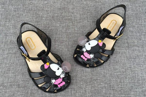 2017 NEW Kids Toddle Shoes Mini Girl Sandals MINI MINI Jelly Crystal Children Shoes Slippers Princess Hook & Loop Shoes