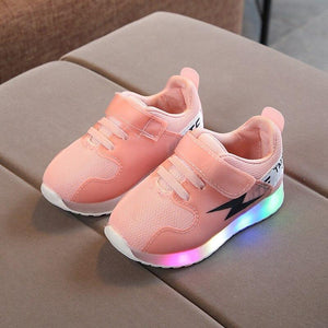 2018 European All seasons Sports run breathable kids shoes Hook&Loop shoes LED hot sales Lovely comfortable children sneakers