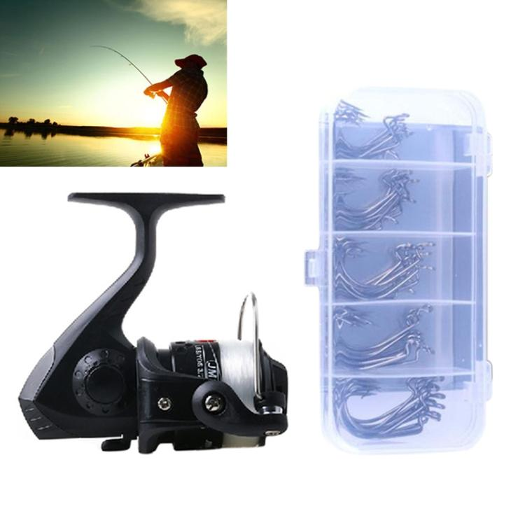 HENGJIA JL200FH0131 Freshwater Fishing Wheel Set 3BB Ball Bearings Rocker Handle Wheel Seat Fishing Spinning Reel with 40m Fishing Lines & 50 PCS Hooks (Black)