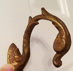 VINTAGE 1970s WALDORF ASTORIA HOTEL NEW YORK CITY SALVAGED BRASS SWAN ROBE HOOK, CLOTHES HOOK OR CURTAIN TIE BACK