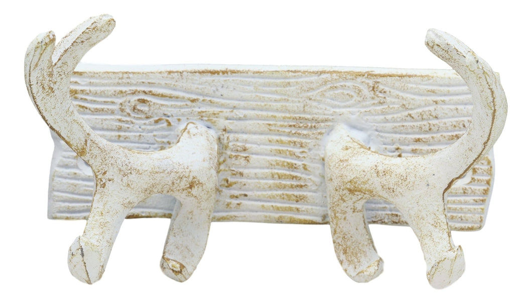 Ebros Cast Iron Vintage White Western Rustic 8 Point Stag Deer Trophy Antler Rack Wall Hooks Decor Plaque 7