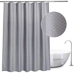 EurCross Fabric Shower Curtain Grey, Mould Proof and Water Repellent Waffle Shower Curtain for Bathroom With 12pcs Hooks,Size 180 x 180cm Drop