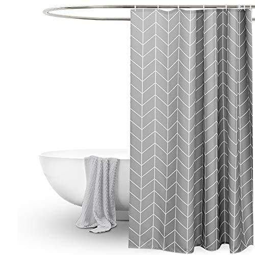 EurCross Geometric Pattern Grey Shower Curtain for Bathroom,Water Repellant Anti Mould Extra Wide/Long Shower Curtains 200 X 200cm(78''W x 78''L),Including 12pcs Hooks.
