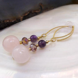 Rose Quartz earrings, semi-precious stone earrings, semi-precious gemstone Rose Quartz Jewellery
