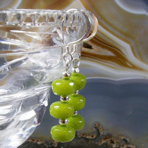 Green Jade semi-precious stone earrings, Green Jade Jewellery UK, green Jade earrings UK crafted