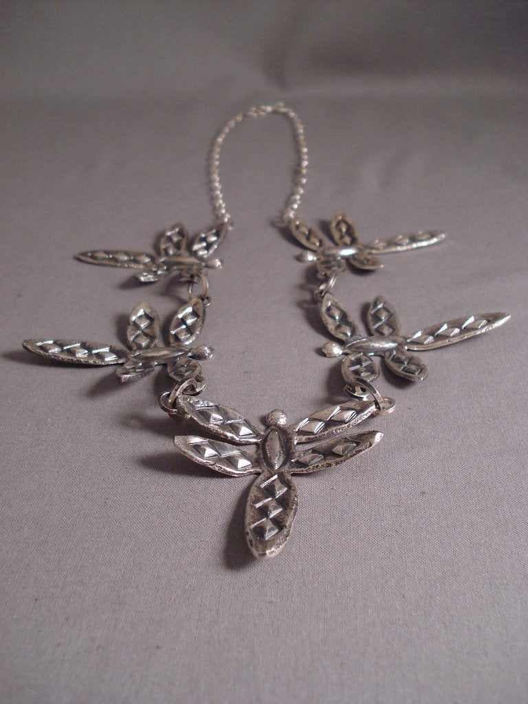 Heavy And Unique Navajo Tufa Casted Butterfly Native American Jewelry Silver Repoussed Necklace