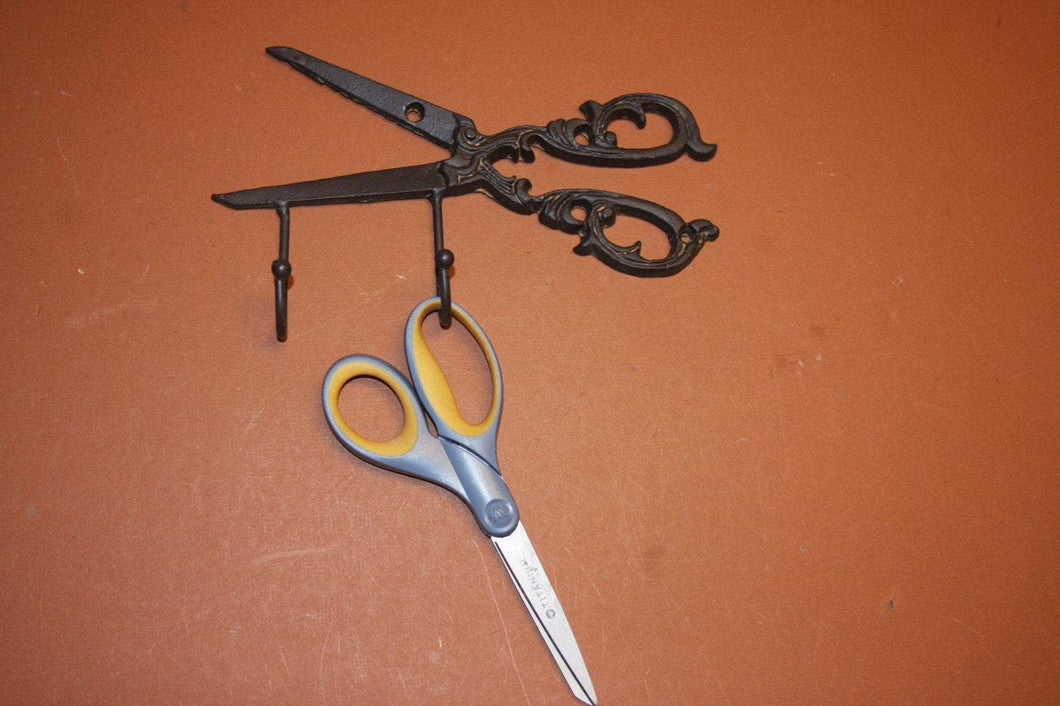 1) piece, scrap book craft scissors holder, scrap book gift, vintage-antique-look cast iron scissors wall hook,free shipping, H-64