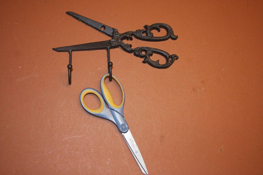 1), Mom Crochet Gift, Vintage-look crochet wall hook organizer, Old-fashioned Scissors, Cast Iron, Antique-style,  H-64