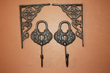 4) Vintage style home decor, free shipping, Cast Iron Old Timey Padlock Wall Hook, Vintage-look old-house design shelf brackets