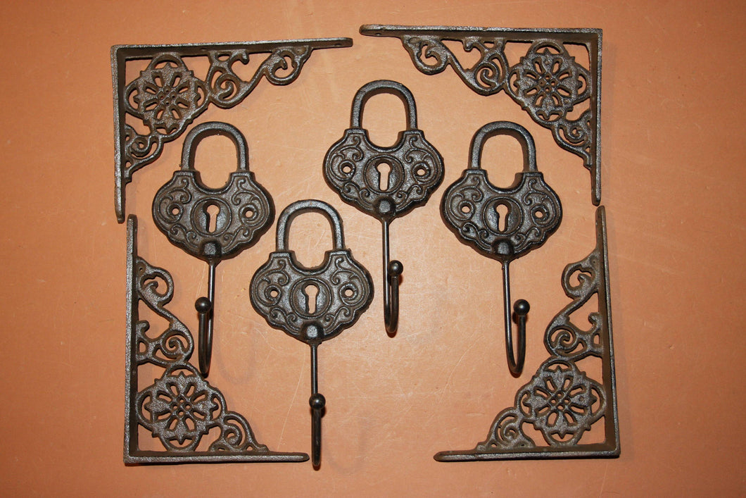 8) Old Timey Workshop Decor, Free Shipping, Padlock Wall hooks, Vintage-look flower design shelf brackets, durable cast iron