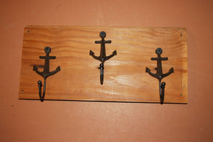 Rustic Weathered Look Nautical Anchor Coat Rack, Reclaimed Southern Pine Weathered Wood, Shipping Included, The Country Hookers, CH-2