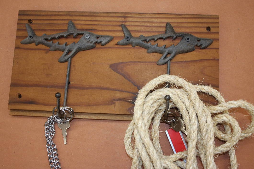 Shark Collector Rustic Wall Hook Rack, Handmade in USA, Cast Iron, Reclaimed 100 Year Old Wood, The Country Hookers, CH-16
