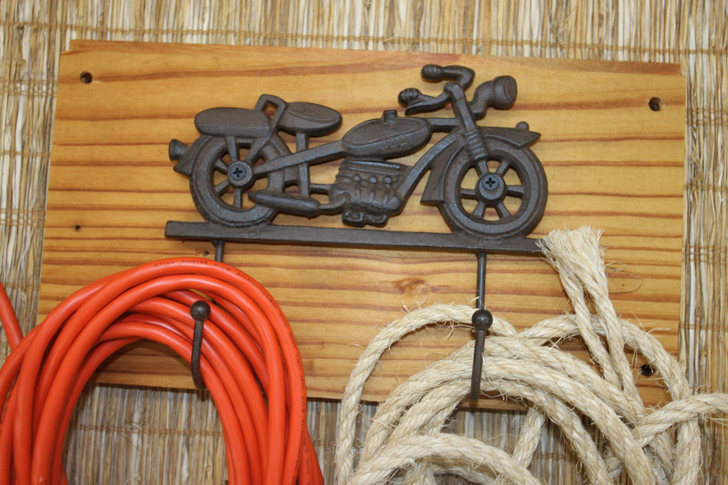 Fathers Day Gift Vintage Motorcycle Wall Hook Solid Cast Iron on wood, The Country Hookers, CH-28
