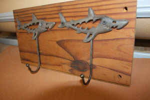 Rustic Cast Iron Shark Bath Towel Hook Set, Handmade in USA, Reclaimed 100 Year Old Wood, The Country Hookers, CH-16