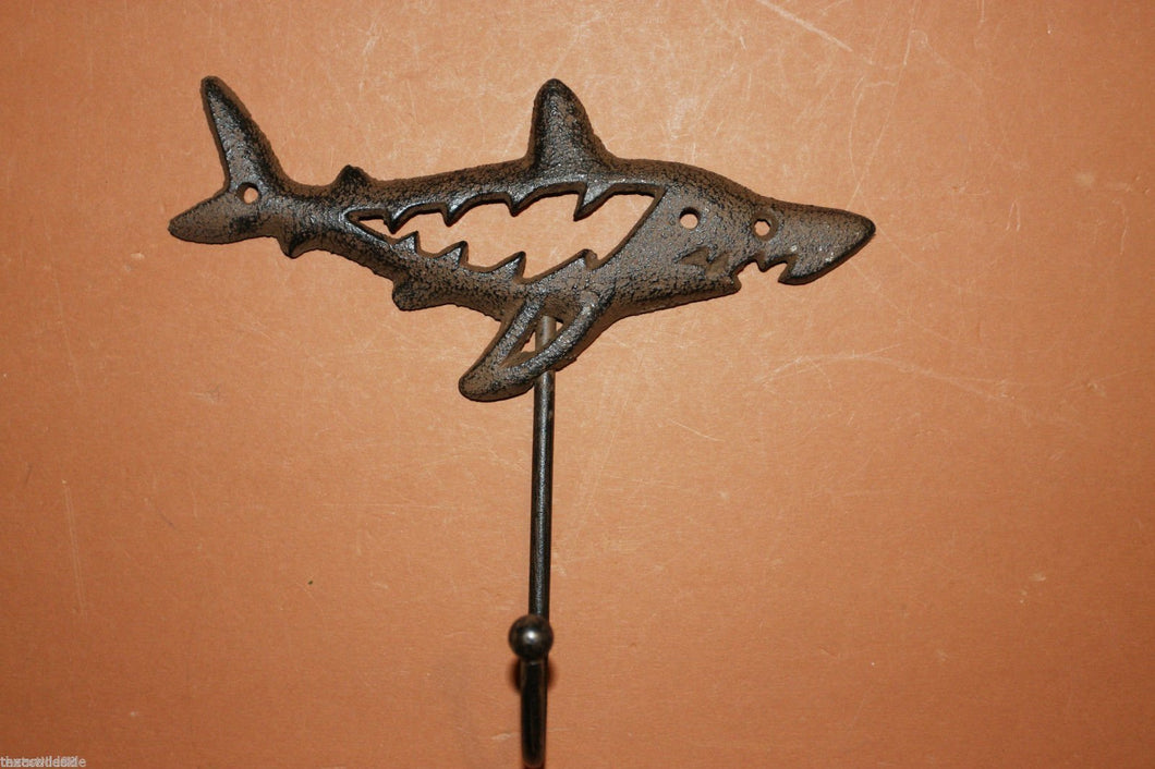 Shark Wall Hook for coats hats backpacks leashes and more, Rustic Cast Iron 6 inches tall, generous hook opening, Free Ship, N-37