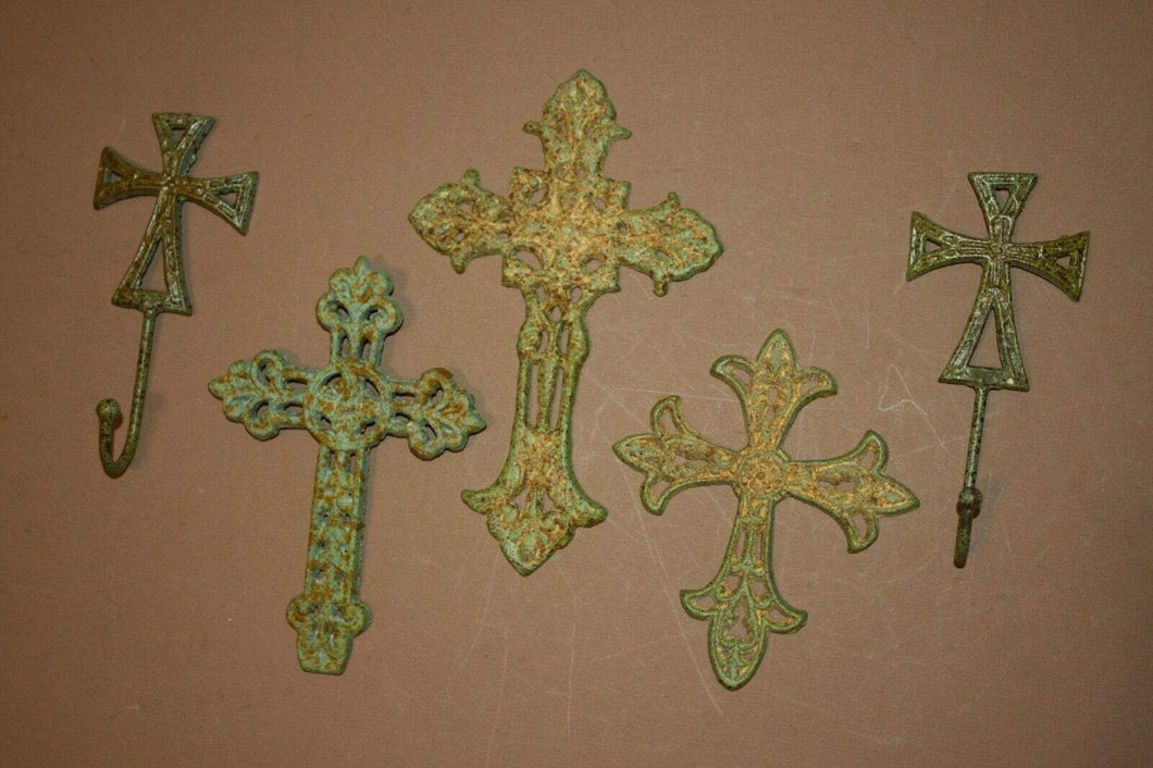5) Farmhouse Christian Theme Wall Decor, Cast Iron Shabby Distressed Wall Crosses Old Fashion Design ~ Matching Wall Hooks