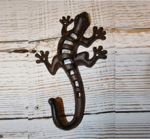Lizard Wall Hook 8 inches High Cast Iron, Use to hang towels coasts jackets purses backpacks ~ H-08