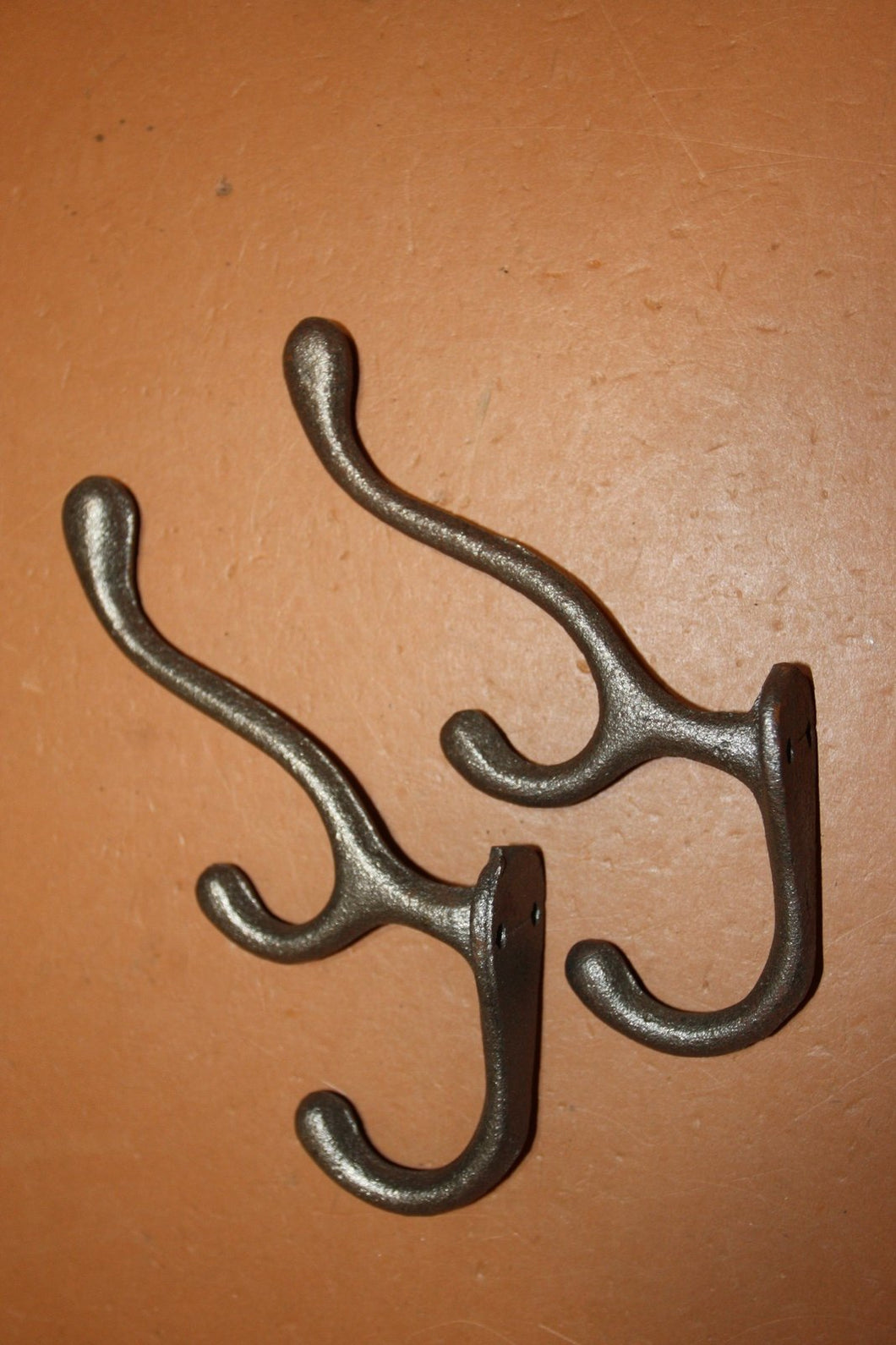 "2) Farmhouse Mudroom Coat Hat Hooks Triple Hook Design Solid Cast Iron 6 3/4"" tall  ~  H-15"