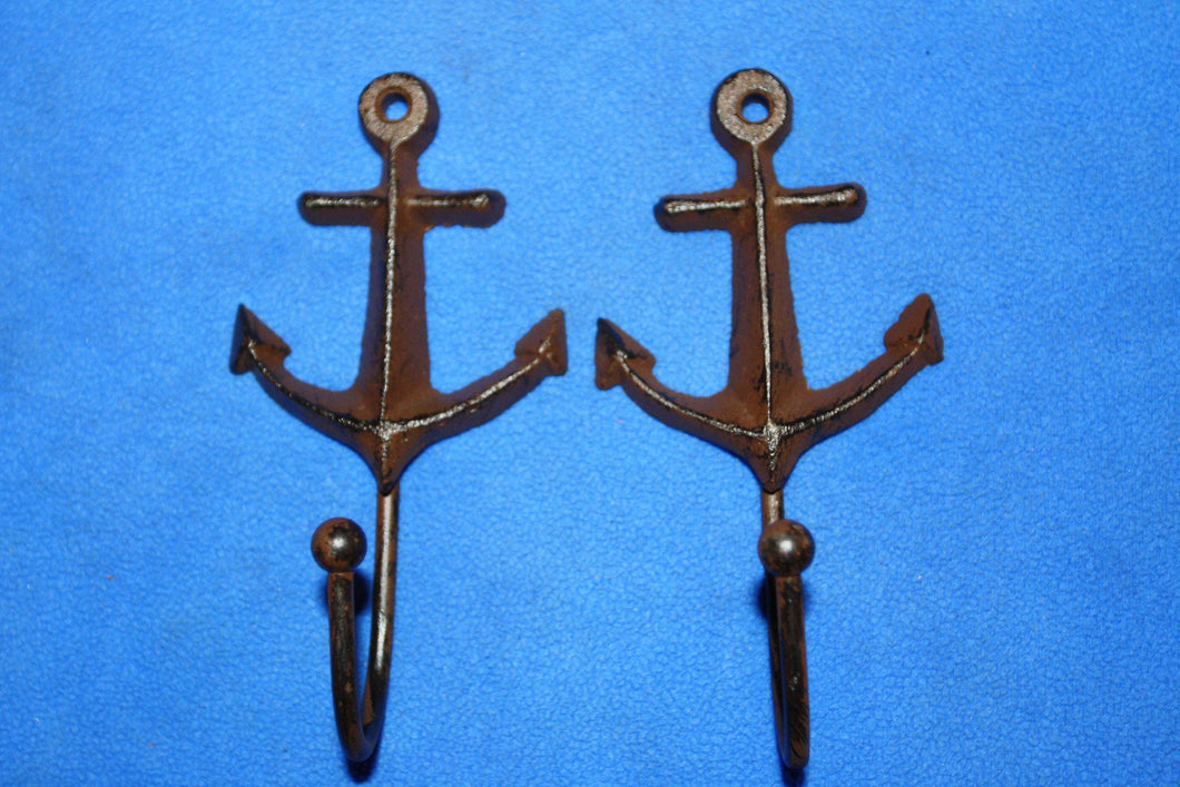 Anchor Gift for Dad, Cast Iron Anchor Wall Hooks 5 1/4 inch Nautical Sailor Fishing Boating Mancave Wall Dcor, Volume Priced H-77