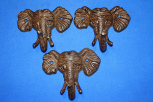 3) Elephant Bath Towel Hooks Cast Iron,  5 inch Jungle Africa Savanna Sahara theme bath decor, Set of 3,  H-40