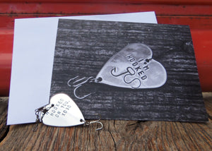 Hooked on You Valentine's Day Card Fishing Lure Gift Set for Him Fish Card for Boyfriend Anniversary Card Fishing Valentines Present Husband
