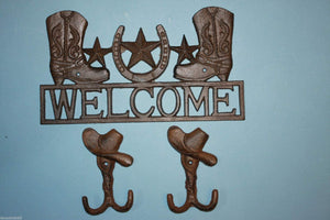 1 set, Cowboy Boots Welcome Sign, 2 Cowboy hat, Wall Hooks, Country Kitchen, Cast Iron Decor, Country Western, Welcome Decor, Front entrance