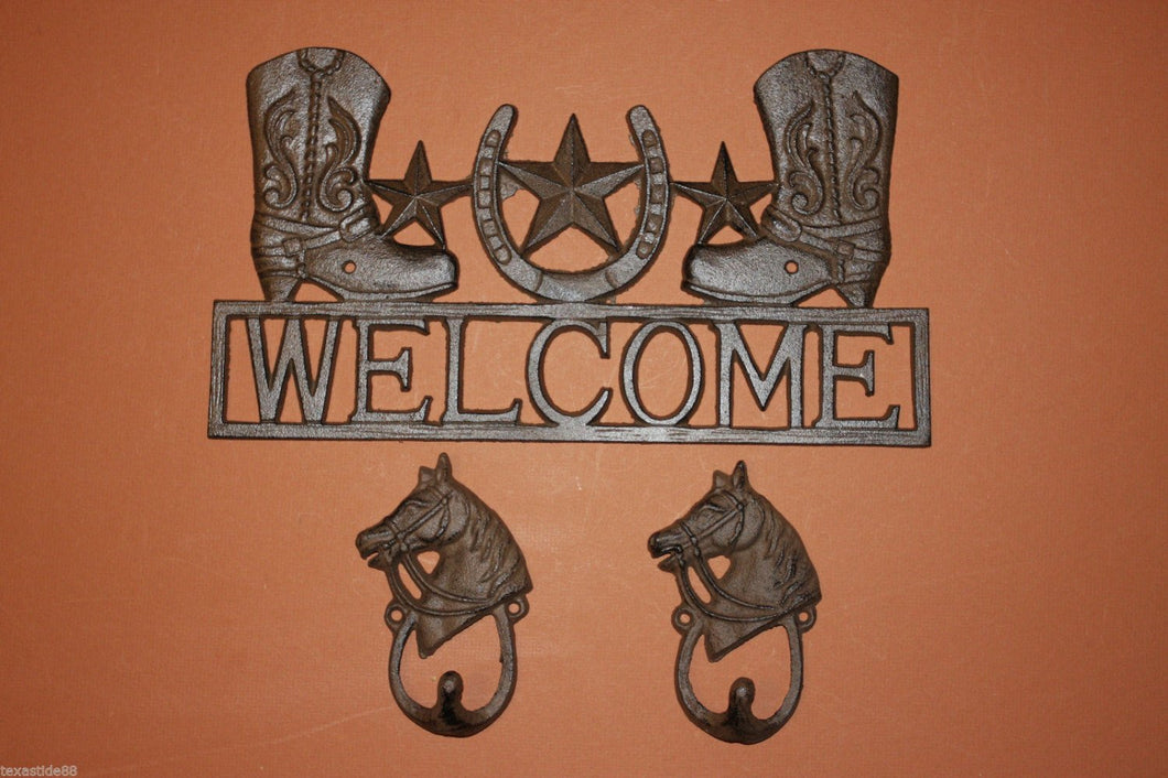 3, pcs, Cowboy Boots Welcome Sign, 2 Looped, Horsehead hat, Wall Hooks, husband gift, Country Western, Welcome Decor, Front entrance