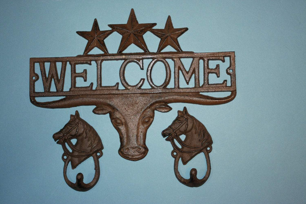 1 set, Longhorn Welcome Sign, 2 Looped Horsehead Hooks, Housewarming, Cast Iron Decor, Country Western, Welcome Decor, Front entrance, Door