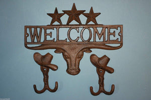 1 set, Longhorn Welcome Sign, 2 Cowboy Hat. Wall Hooks, Housewarming, Cast Iron Decor, Country Western, Welcome Decor, Front entrance, Door