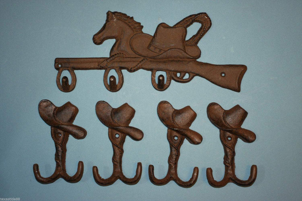 1 set, Horse, Rifle, cast iron plaque, 4 cowboy hat wall Hooks, bathroom hooks, coat hooks, tool shed hooks,Country Western, towel