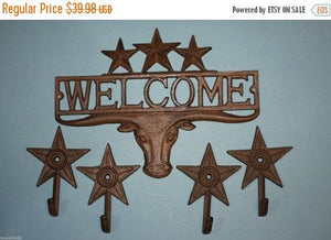 5 pieces, Longhorn welcome plaque wall hook set, fast and free shipping, Longhorn, cast iron, Texas welcome