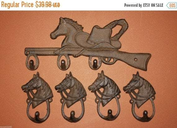 1 set, Horse, Rifle, cast iron plaque, 4 looped horsehead, wall Hooks, tack hooks, coat hooks, tool shed wall hooks,Country Western,