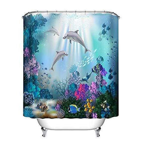 LB Underwater World Shower Curtain Waterproof Anti-mold Bathroom Curtains Dolphins Plants Pattern Polyester Fabric Home Decor Accessories with 12 Curtain Hooks 150x180cm