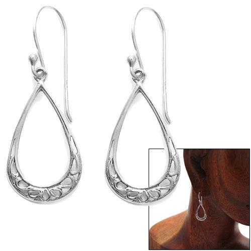Delightfully and Intricately Designed Sterling Silver Open Teardrop with Scrolls Hook Earrings.