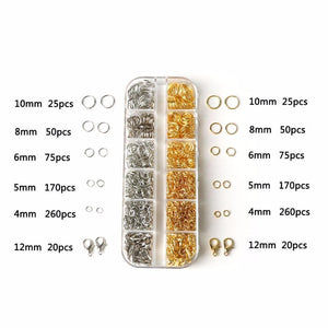 4/5/6/8/10Mm Gold*Rhodium Color Jump Rings And Lobster Clasps Hooks Findings Beads Kit For