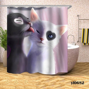 Cartoon Cat Shower Curtains Waterproof Animals Bath Curtains For Bathroom Bathtub Large Wide Bathing Cover Home Rideau De Bain
