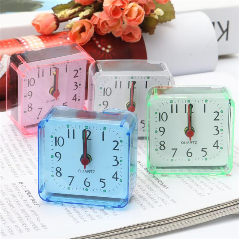 1Pc New Home Outdoor Portable Cute Mini Cartoon Multi-function Trip Bed Beep Desktop Alarm Clock Mini Portable Table Clocks Hook