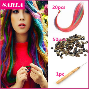 20pcs/lot I Tip Hair Extensions With Beads Hook Grizzly Ring Synthetic Solid Loop Natural Top Hair Extension Hairpiece