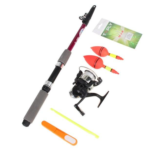 1.8m/1.5m Portable Fishing Reel Mount Fishing Rod Reel Kit Floats Hooks Sets Fish Tackle Neoprene Handle Screw Compelet Starter