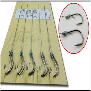 10Pcs/lot Fishing hook Crank String Japan Series Hooks Freshwater Catch Barbed Fishing tackle Single Black Nickel Color Sabiki