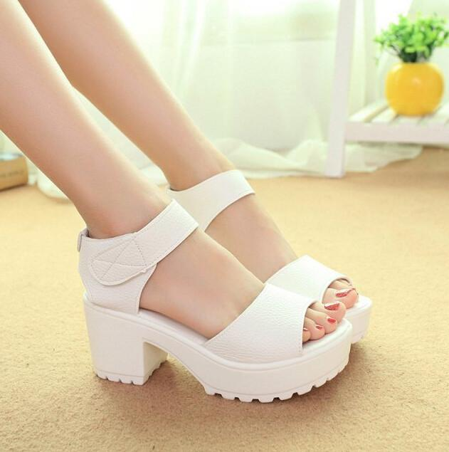 2016 New Summer Pep-toe Woman Sandals,Platform Thick Heel Summer Women Shoes Hook & Loop Fashion All Match Shoes For Ladies 835