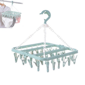 Plastic Clothes Hanger With 32 Clips Multifunctional Folding Clothes Pegs Towel Socks Hanger Racks Hooks Organizer