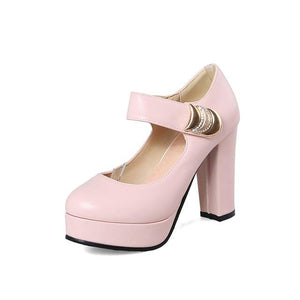 ENMAYER 2018 New High-heeled Shoes Woman Pumps Causal Shoes Fashion Sweet Women Shoes Pink White Blue High Heels Hook CR168
