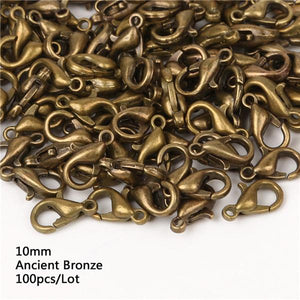 100pcs 10/12/14/16mm  Metal Lobster Clasps Hooks Gold/Rhodium Lobster Clasps Hooks For Jewelry Making Finding DIY Necklace