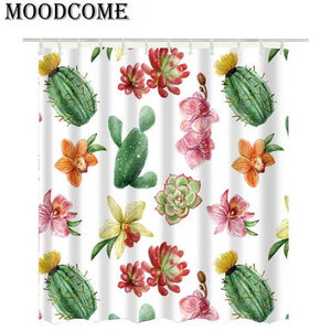Cactus Shower Curtain Pink Bathroom Curtain Rideau De Douche Green Succulent Plants Cortina De Ducha Curtain For The Bathroom