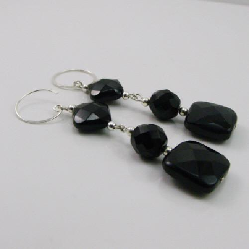 Long black semi-precious earrings unique jewellery design crafted from black Rainbow Obsidian