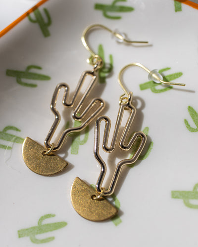 Saguaro Gold Metal Earrings