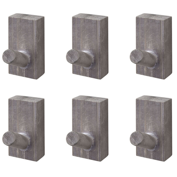 Vintage Grey Wood Peg Coat Hooks, Set of 6