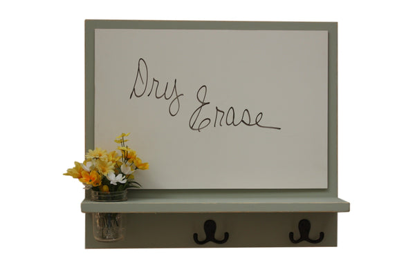 Message Board with Whiteboard, Coat Hooks and Mason Jar
